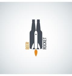 beer bottle logo rocket concept background vector image vector image