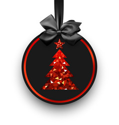 Black card with red christmas tree vector