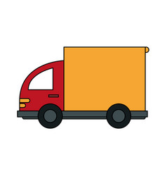 Color image cartoon small transport truck with vector