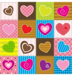colorful patchwork with hearts vector image vector image