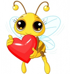 cute bee holding love heart vector image vector image