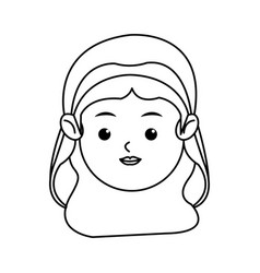 cute face virgin mary manger cartoon outline icon vector image vector image