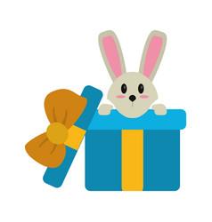 Cute rabbit hiding gift box surprise vector