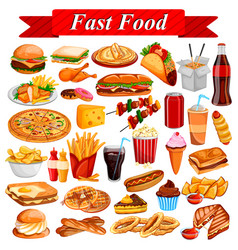 Delicious tasty fast food and drink item vector