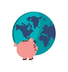 Earth globe and piggy bank icon vector