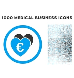 Euro favorites icon with 1000 medical business vector