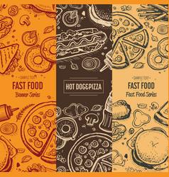 fast food vintage hand drawn menu card set vector image