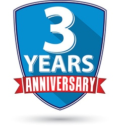 Flat design 3 years anniversary label with red vector