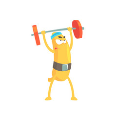 Funny banana doing exercises with barbell cartoon vector