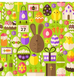 Happy Easter Holiday Flat Green Seamless Pattern vector image