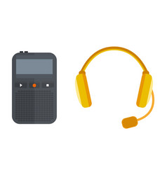 Headphones icon isolated microphone vector
