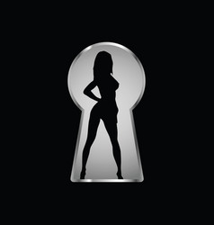Keyhole and a look at the girl through it one vector