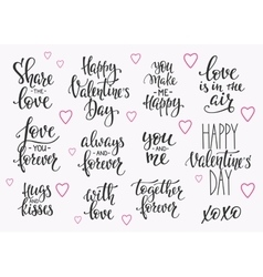 Love Valentines Day quote typography set vector image vector image