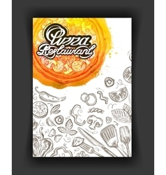 Pizza restaurant sketch menu food cafeteria vector image vector image