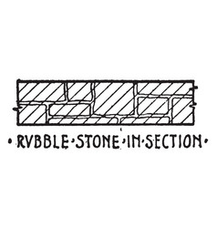 Rubble stone in section material symbol vector