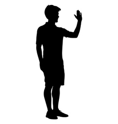 Silhouette man raised his left hand up vector