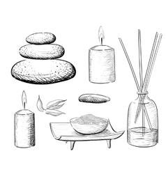 Spa set rock salt essential oil jacuzzi vector