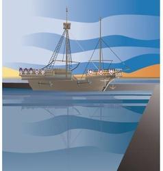 Vintage merchant ship vector
