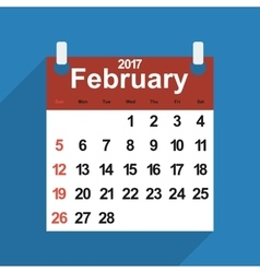 Leaf calendar 2017 with the month of february days vector