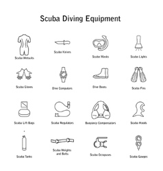 Set of icons scuba diving equipment vector