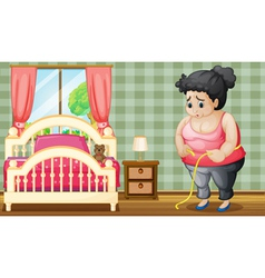 A sad fat lady inside her bedroom vector image