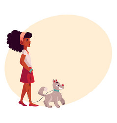 black african american girl walking with dog on vector image