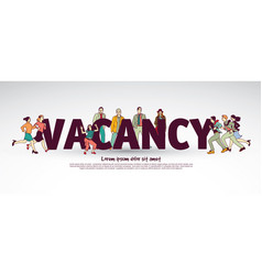 vacancy team group business people and sign vector image