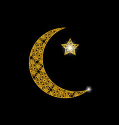 Ramadan card crescent with a star oriental vector