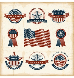 Vintage american labels set vector