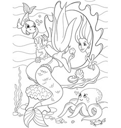 ermaid looks in the mirror coloring book for vector image