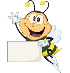 Bee holds sign and waves hello vector