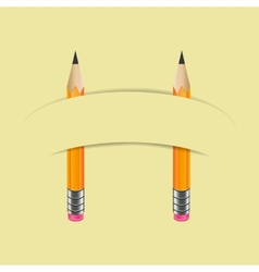 Two graphite pencils and paper banner vector