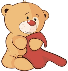 A stuffed toy bear cub and a towel cartoon vector
