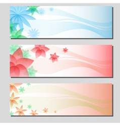 Three types of floral colorful banner cards eps10 vector
