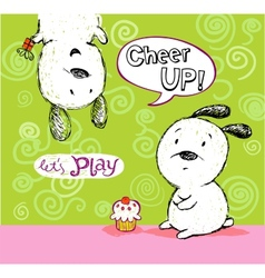 Cheer up card to friend with cute puppies vector