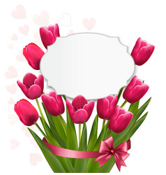 Celebration background with pink tulips vector image