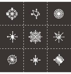 Wind rose icon set vector