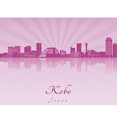 Kobe skyline in purple radiant orchid vector