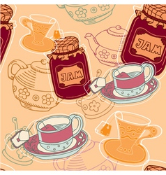 tea and jam pattern vector image