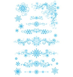 Snowflake page dividers and decorations isolated vector