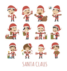 Set of santa claus costume characters vector