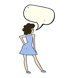 Cartoon woman posing in dress with speech bubble vector