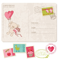 baby girl greeting postcard with set of stamps vector image