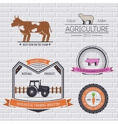 Farm label template of emblem element for your vector