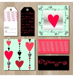 Set of cards with red valentines day design vector