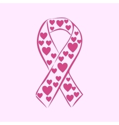 Pink ribbon national breast cancer awareness month vector