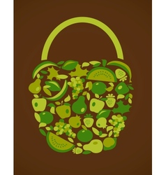 bag with fruits and vegetables pattern vector image vector image