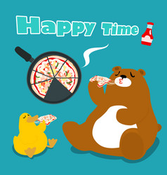Bear amp duck eat pizza cartoon vector