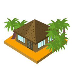Bungalow with palm trees isometric icon vector