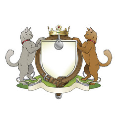 cat pets heraldic shield coat of arms vector image
